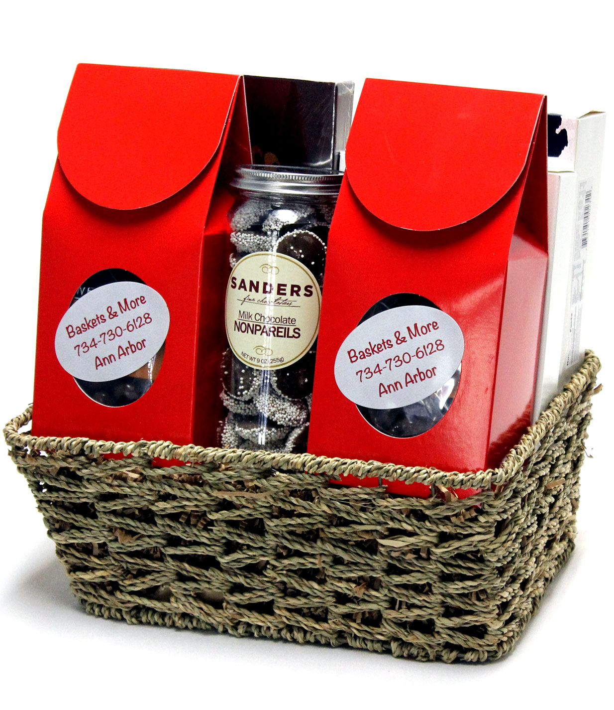 Cleverly decorated custom made gift basket with all Michigan made products.