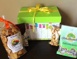 Custom gift box displayed with Michigan made products.