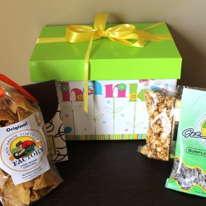 colorful thank you gift basket displayed with all Michigan made products