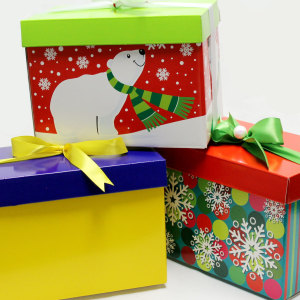 A few of the custom gift boxes we can use with your gift basket.